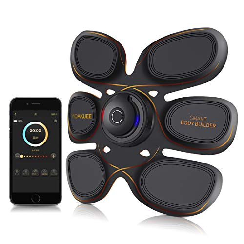 YOAKUEE Six Pack Elektro-Bauchmuskeltrainer & Armmuskeltrainer kontrolliert per Smartphone-App Bluetooth Verbindung -50 Intensitätsebene