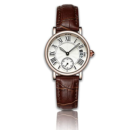 Relojes de Cuarzo para mujer, Reloj de pulsera clásico de señora Analog Round Quartz, correa de cuero, fecha(#05)