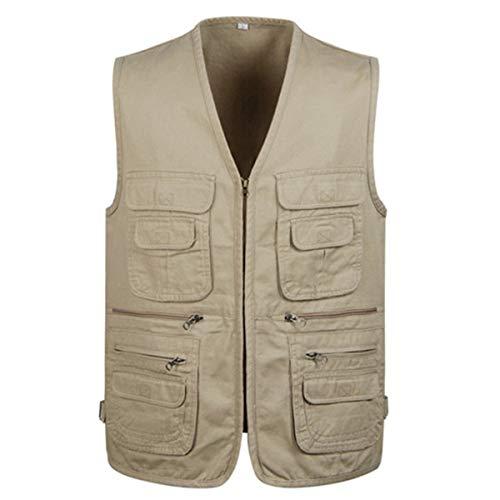 Jektotily Men's Cotton Waistcoat Jacket Multi Pocket Vest Outdoor Fishing...