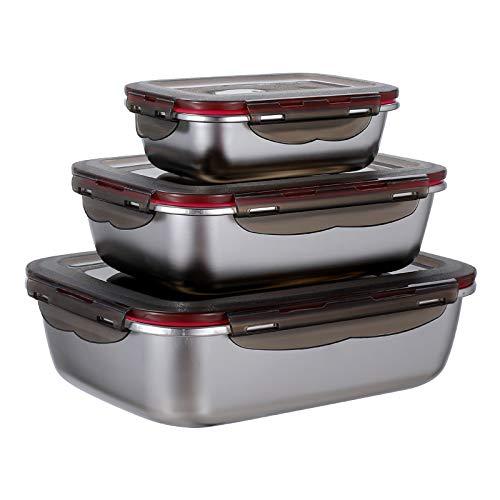 3-teiliges Frischhaltedosen-Set Vorratsdosen aus Edelstahl mit Deckel Luftidcht Lebensmittelbehälter Meal Prep Boxen Edelstahl Schüssel mit Deckel Stapelbar, 600ml/ 1500ml/ 2900ml
