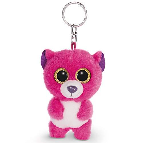 NICI 45541 Glubschis Schlüsselanhänger Bär Briggy 9cm, große Glitzeraugen, Plüschtier mit Schlüsselring, pink/weiß