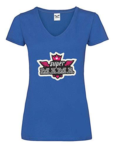 Druckerlebnis24 Camiseta V – Super Mama Corona Día de la Madre – Camiseta para Mujer y Mujer con Cuello en V Azul S