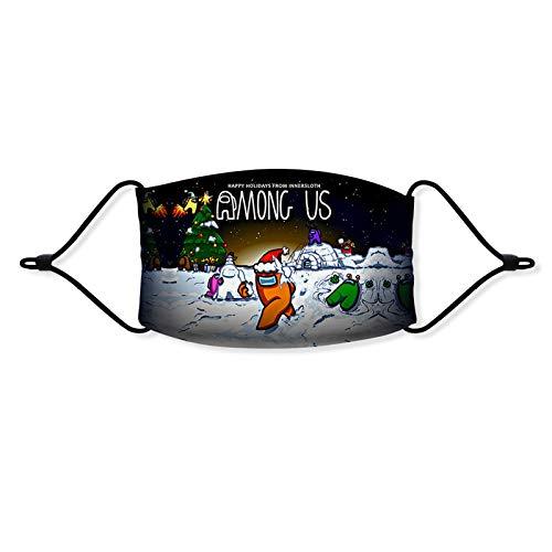 WXGER Among Us Mundschutz VerstellbarWaschbar für Kinder Erwachsene 1 Stück Among Us3D Motiv Lustig Mund-Nasenschutz Stoff Halstuch SanftAtmungsaktiv Wiederverwendbar (F,M=14cm*9cm)