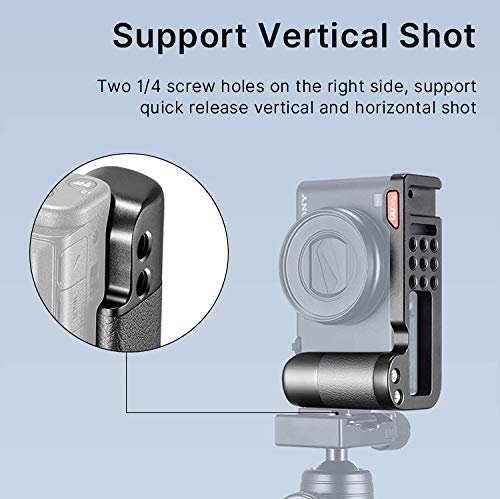 UURig Handgriff für Sony ZV-1 Schnellwechselplatte L-Halterung Metallhalterung mit Kaltschuh-Unterstützung für horizontale und vertikale Aufnahmen