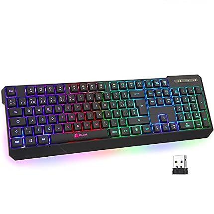 KLIM™ Chroma Wireless - Teclado inalámbrico Gaming ESPAÑOL + Teclado Gaming Ligero, Duradero, resiste al Agua, ergonómico, silencioso + Teclado Gamer PC PS4 Xbox One Mac + Nueva VERSIÓN 2021 + Negro