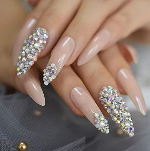 JSIYU Faux ongles 3D Stiletto False Fake Nails Extra Long Press on Party Finger Wear UV Nail Tip, F186 E