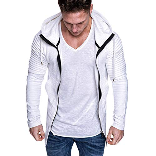 Xmiral Herren Sweatshirt Top Herbst Langarm Plaid Hoodie Mit Kapuze T-Shirt Outwear Streetwear Kapuzenpullover Outdoor Sportbekleidung(Z Weiß,3XL)