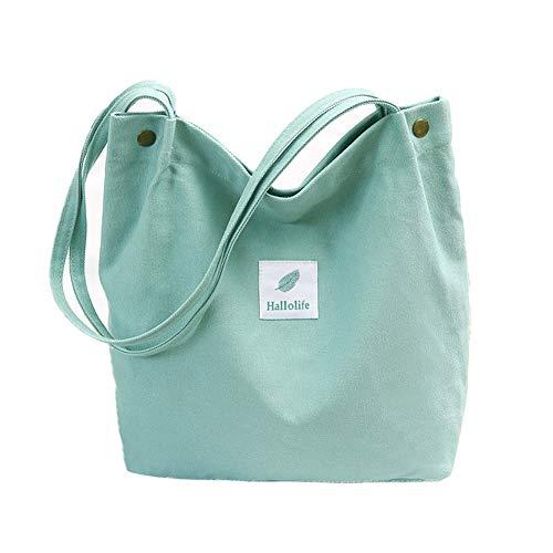 Hallolife Canvas Tasche Damen Canvas Umhängetasche Shopper Casual Handtasche groß Chic Schulrucksack für Alltag Büro Schulausflug Einkauf, 38 x 32 x 11cm hellgrün