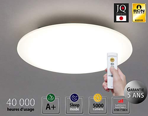 Iris Ohyama 530462 LED plafondlamp smal met instelbare verlichting, slaapmodus en afstandsbediening, 40 W, 5000 lumen, energie-efficiëntieklasse A+, wit, 45 x 45 x 9,3 cm