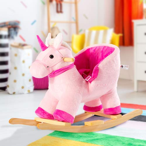 Hovisi Einhorn Schaukelwippe Kinder Schaukelstuhl, Plüsch Schaukeltier, Schaukelpferd Holz Schaukel für Schaukelspielzeug Geschenk für 10-36 Monaten Kinder (Rose)