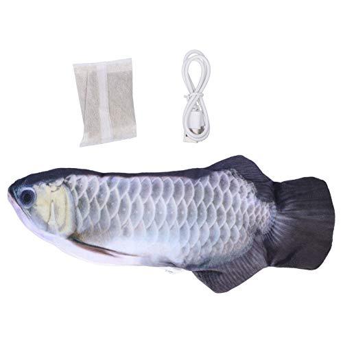 Jeanoko Juguete de pez de peluche móvil para gato aliviar el estrés mantener mentalmente activo, juguete de pescado eléctrico de gato (carga USB de plata de dragón)