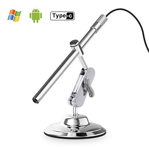 Depstech Inspektionskamera digitales USB Mikroskop mit 10 bis 200-facher Vergrößerung, 8LED 's OTG für Android, Smartphone, Mac und Windows PC