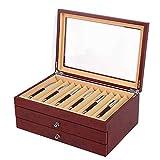 3 Schichten Stifte Sammelbox mit Anzeigefenster, Füllfederhalter Organizer Box, Rot Holzvitrine Stiftetui Penbox Stifthalterbox für 34 Stifte Schreibgeräte