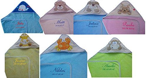 *Baby Kapuzenhandtuch mit Namen bestickt Kapuzentuch Badetuch Kinder*