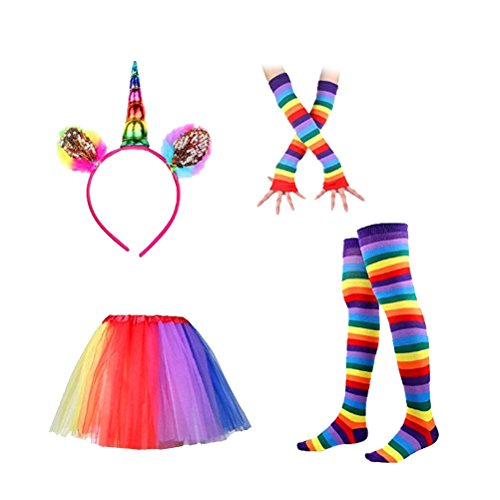 Luoem - Diadema de unicornio, falda, tutú, calcetines altos de rayas multicolor y guantes largos, disfraz de unicornio para mujer