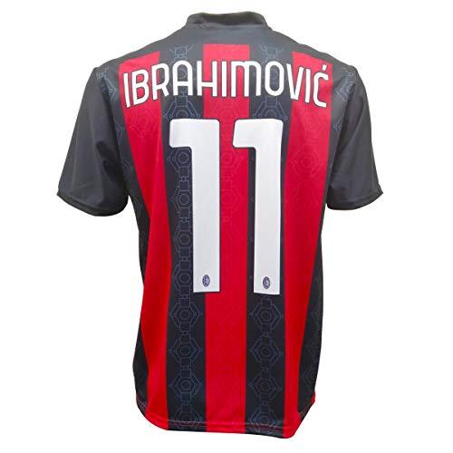 Trikot Ibrahimovic Milan 2021, offizielles Produkt 2020 – 2021, für Erwachsene, Jungen und Kinder, Ibra Zlatan- Gr. 8 Jahre, Schwarz/Rot