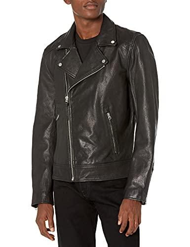 Superdry Heren Leather Moto Biker Jassen, zwart, 3XL