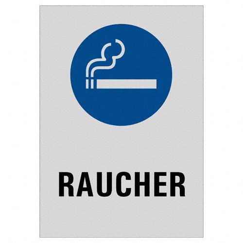 Warnschild - Raucher Bereich | 200 x 150 mm selbstklebend Aluminium silber matt eloxiert | Original Ofform Design