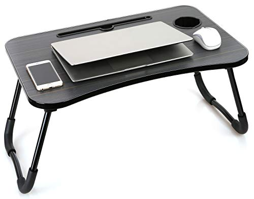 Laptop Desk Laptop Bed Tray Table Large Foldable Laptop Notebook Stand Desk with Ipad and Cup Holder Perfect for Breakfast, Reading, Working,Watching Movie on Bed/Couch/Sofa (Black Stripe)