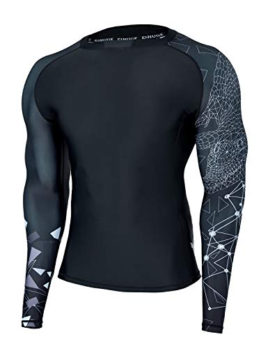 HUGE SPORTS Wildling Series UV Protection Quick Dry Compression Rash Guard(Lined Alligator,M)
