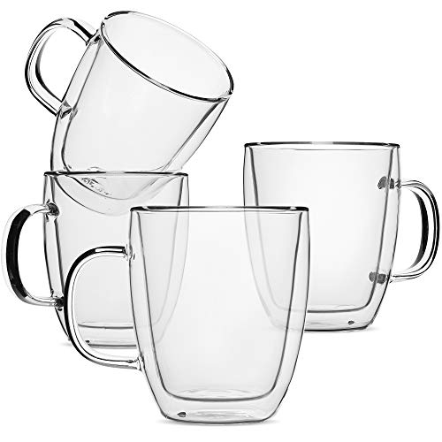 Double Wall Glass Insulated Coffee Mugs, Set of 4 (16oz, 500ml)