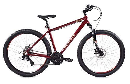 Basis Harrier Mens Crossbar Hardtail Mountain Bike, 27.5' Wheel, Disc Brakes, 21 Speed - Candy Red (18' Frame)
