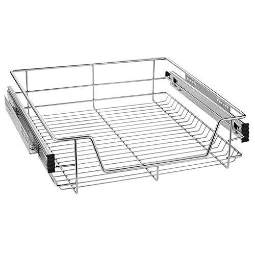 LZQ Cajón telescópico Bandeja de Metal extraíble 60cm Organizador Interior almacenaje para Cocina baño Armario Taller (1 x 60 cm)