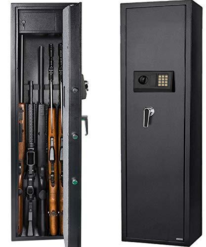 Gearmart Fast Access Gun Safe Rifle Safe Larger and Durable for 5-Gun Shotgun Cabinet (Larger Rifle Safe-Electronic)