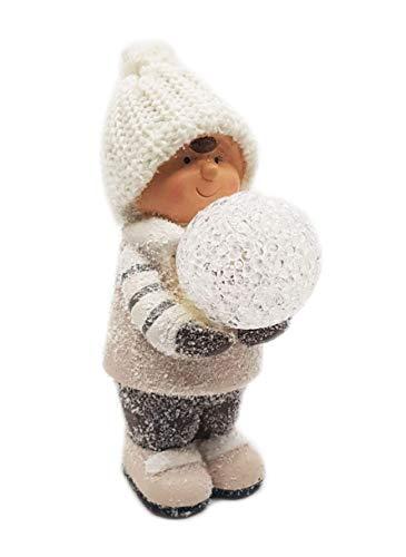 Wichtelstube-Kollektion Gnomo Collezione Bambino Invernale con LED 19 cm Statuetta Decorativa in Ceramica Natale Bambini Invernali