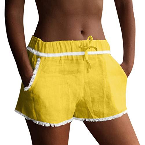 Shakumy Women Elastic Waist Cotton Linen Frayed Summer Beach Shorts with Pockets Ruffle Casual Workout Yoga Shorts Hot Pants
