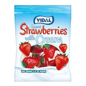Vidal Gummi Candy, 3.5 ounce Bag (Strawberries with Cream)