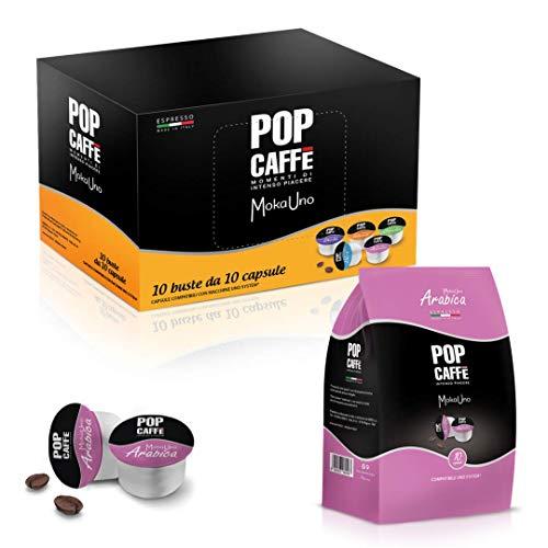 50 CAPSULE POP CAFFE' MOKA-UNO 3 ARABICO COMPATIBILI UNO SYSTEM ILLY KIMBO