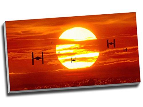 Kampfflugzeuge im Sonnenuntergang, Krieg der Sterne, Leinwanddruck, Wandkunst, Bild, Segeltuch, 76,2 x 40,6 cm
