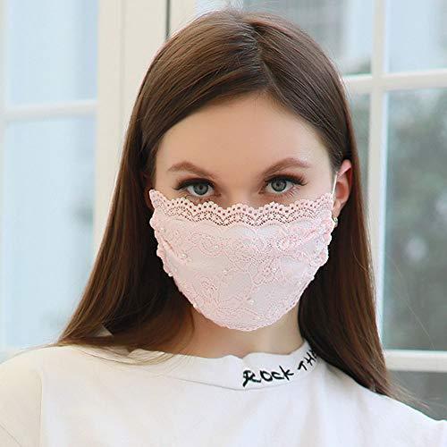 TseenYi Mode Spitze Maske mit Perle Schleierabdeckung Gesichtsmaske Sexy Dekoration Maske Schmuck für Frauen und Mädchen (Rosa)