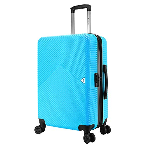 ATX Luggage 21'/55cm Lightweight Durable Hardshell ABS CarryOn Cabin Hand Luggage Suitcases Travel Bag with 8 Wheels & Built-in Lock for Ryanair, EasyJet, BA (21' Carry-on, Sky Blue)