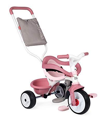 Smoby 740415 - Be Move Komfort rosa - Kinderdreirad mit Schubstange, Sitz mit Sicherheitsgurt, Metallrahmen, Pedal-Freilauf, für Kinder ab 10 Monaten