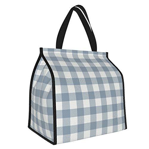 Bolsa de almuerzo de tela vaquera, con diseño de cuadros azules, ideal para el trabajo y viajes escolares...