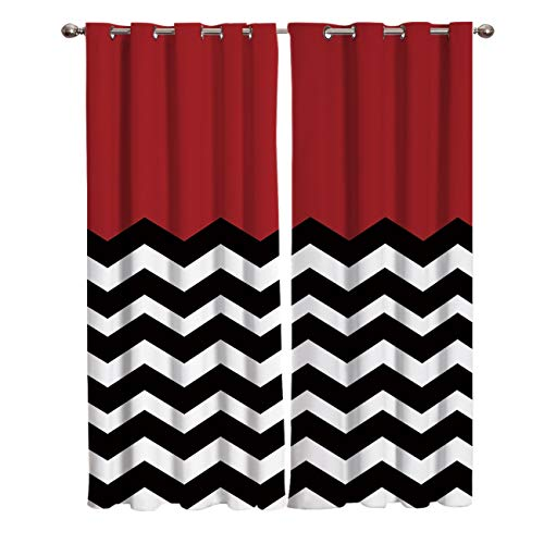 """T&H Home Red White Black Chevron Curtains, Blackout Curtain Silver Grommet Zig Zag Patterned Fabric 2 Panels Set, Darkening Draperies & Curtains for Living Room 54"""" W by 39"""" L"""