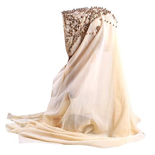 Lazzboy Plain Chiffon Muslim Hijab Schal Halstuch Damen Kopftuch Gesichtsschleier Glitzernder Turban Hidschab Diamanten Islamischen Abaya Dubai Frauen Ramadan Kopfbedeckung Bandana(H)