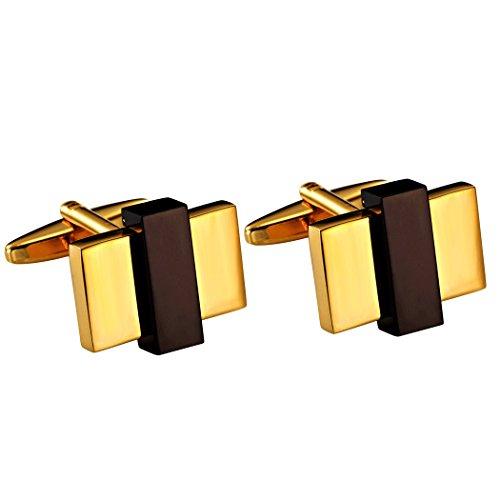 Boutons de manchette mode rectangulaire acier inoxydable ton doré pour hommes