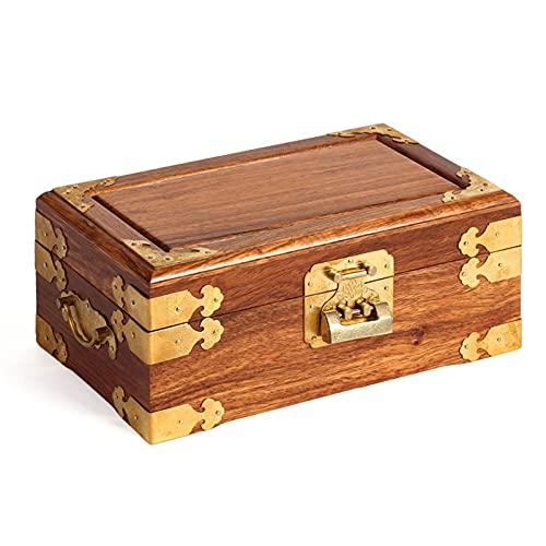 Caja de joyería Caja de joyería antigua Oriental Joyería de madera Caja de almacenamiento con espejo y bloqueo para collar de joyería Pendientes de almacenamiento Organizadores de caja de joyería