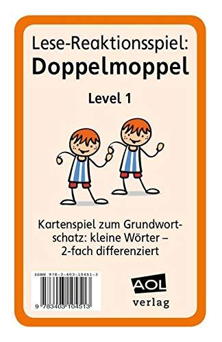 Lese-Reaktionsspiel: Doppelmoppel Level 1: Kartenspiel zum Grundwortschatz: kleine Wörter - 2-fach differenziert (1. bis 4. Klasse)