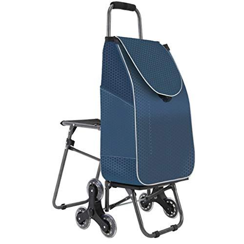 KEWEI Blumenständer Einkaufswagen Treppen klappbar Gepäck Trolley Auto mit Stühlen Tragbarer Einkaufswagen Trolley Einkaufswagen Regal