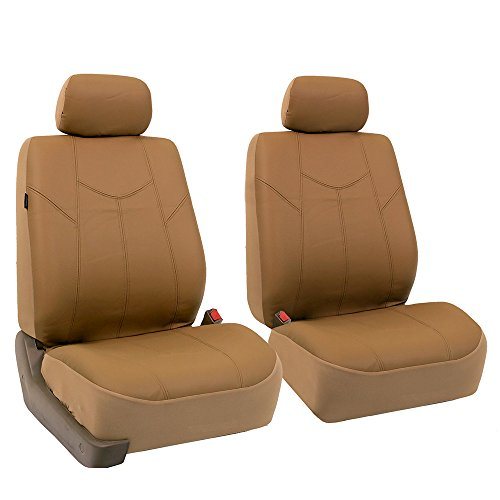 FH Group PU009TAN102 Tan Rome PU Leather Front Seat Cover, Set of 2 (Airbag Ready)