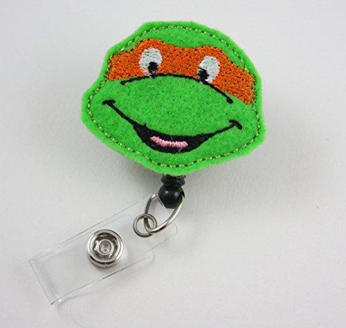Ninja Turtle Face Orange - Nurse Badge Reel - Retractable ID Badge Holder - Nurse Badge - Badge Clip - Badge Reels - Pediatric - RN - Name Badge Holder