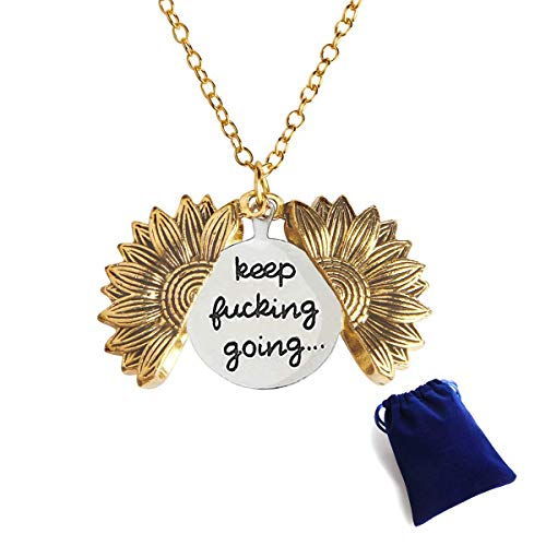 Sunflower Locket Necklace Engraved Keep Going, Sunflower Pendant Necklace Gift for Women Girls