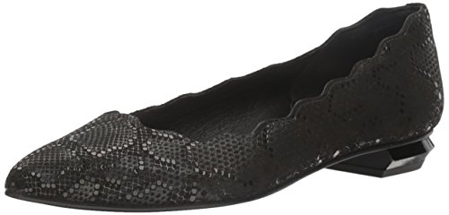 French Sole FS/NY Women's Tequila Ballet Flat, Black Iridescent Snake, 8.5 M US