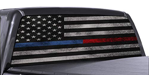 FGD Brand Truck Rear Window Wrap Thin Blue Line Red Line American Flag Perforated Vinyl Decal