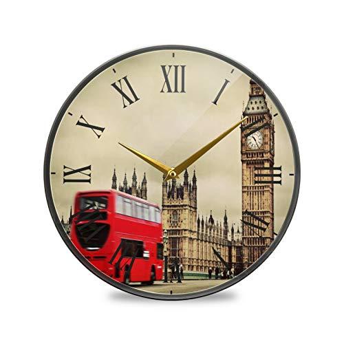 Toalla London Red Bus Arte Reloj de Pared Silencioso Decorativo Relojs para Niños Niñas Cocina Hogar Oficina Escuela Decoración