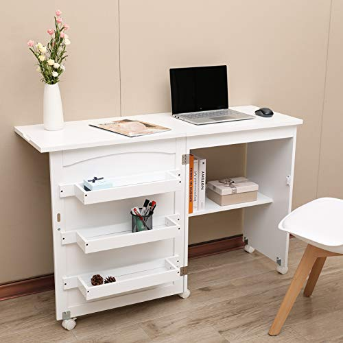 Foldable Sewing Craft Cart/&Sewing Cabinet Miscellaneous Sewing Kit Art Desk with Storage Shelves and Lockable Casters NSdirect Sewing Table White